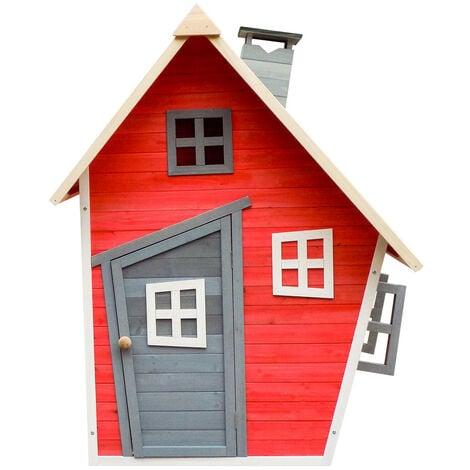 Casita Infantil de Madera Outdoor Toys Fantasy Roja 1,2 m² de 102x120x150 cm