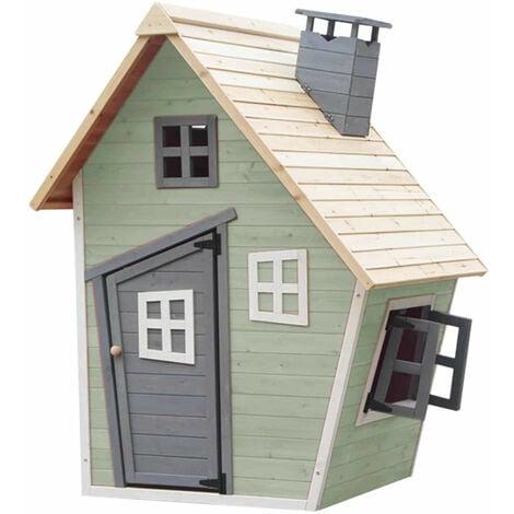 Casita Infantil de Madera Outdoor Toys Fantasy Verde 1,2 m² de 102x120x150 cm