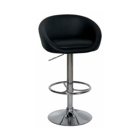 Casop Black Bar Stool Faux Leather Padded Seat Height Adjustable