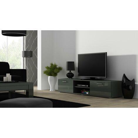 Caspian High Gloss GREY TV Cabinet Stand Entertainment Unit 180cm | Modern Design