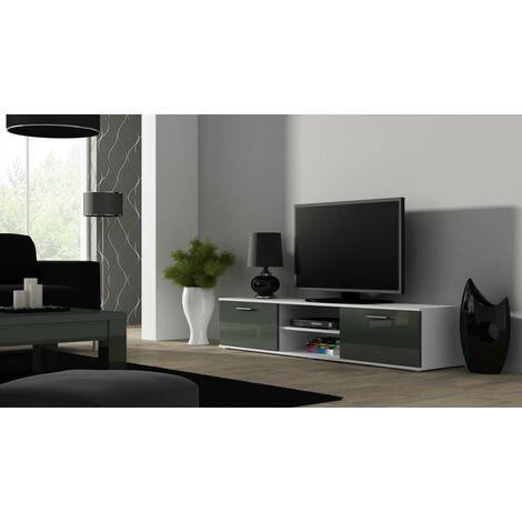 Caspian High Gloss WHITE & GREY TV Cabinet Stand Entertainment Unit 180cm Modern Design