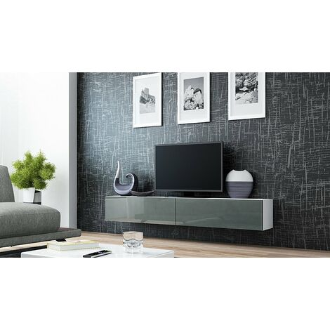 """main image of """"Caspian High Gloss White & Grey TV Cabinet Wall Mounted Floating Entertainment Unit 180cm"""""""