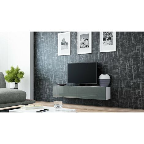 """main image of """"Caspian High Gloss White & Grey TV Cabinet Wall Mounted Floating TV Unit 140cm"""""""