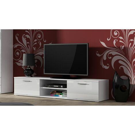 Caspian High Gloss WHITE TV Cabinet Stand Entertainment Unit 2 Doors | Modern Design