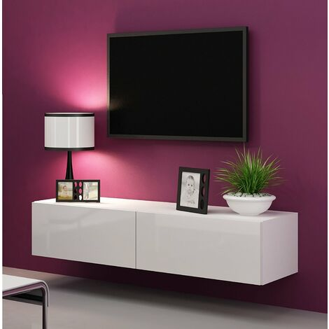 """main image of """"Caspian High Gloss White TV Cabinet Wall Mounted Floating Entertainment Unit 140cm"""""""