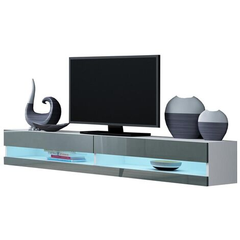 Caspian White & Grey High Gloss TV Stand Cabinet RGB LED Lights | Floating Wall Unit - 180cm
