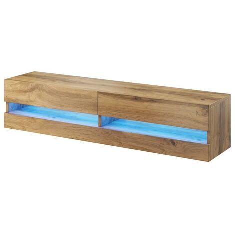Caspian Wood TV Stand Cabinet RGB LED Lights | Floating Wall Unit - 180cm