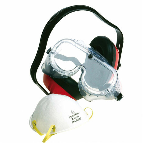 Casque Anti-Bruit + Lunettes De Protection + Masque Anti-Poussière