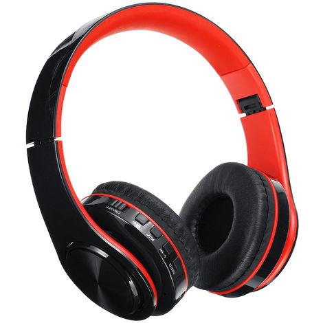 Casque Bluetooth 5.0 sans fil Basse Stéréo Support 128G TF FM MIC Pliable ROUGE