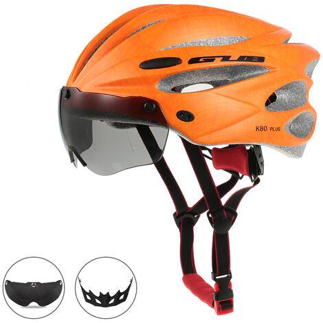 Casque D'Equitation Bicyclette Moulee Integralement Avec Des Lunettes Magnetique Amovible, Orange