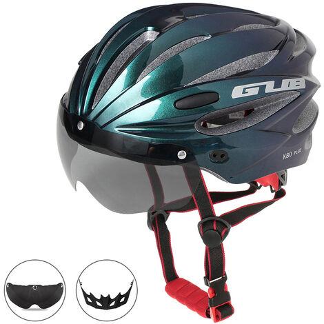 Casque D'Equitation Bicyclette Moulee Integralement Avec Des Lunettes Magnetiques Amovibles, Bleu