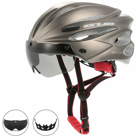 Casque D'Equitation Bicyclette Moulee Integralement Avec Des Lunettes Magnetiques Amovibles, Gris Titane