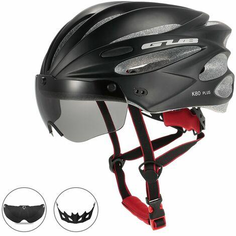 Casque D'Equitation Bicyclette Moulee Integralement Avec Des Lunettes Magnetiques Amovibles, Noir
