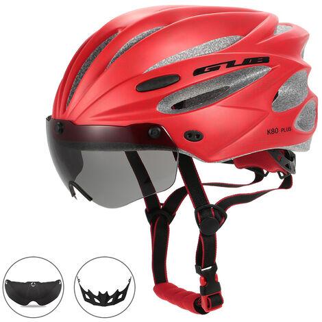 Casque D'Equitation Bicyclette Moulee Integralement Avec Des Lunettes Magnetiques Amovibles, Rouge
