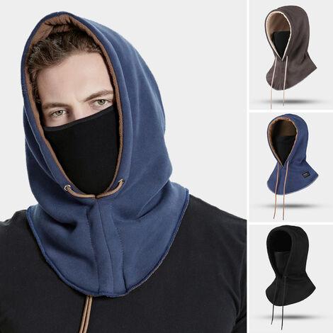 Casque d'equitation d'hiver unisexe, chapeau, masque facial, plus epaississement de velours, masque detachable, bleu marine, taille unique (DMZ43 #)