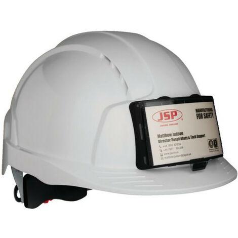 Casque evolite ventile visiere standard &serrage cremaillere blanc avc porte badge