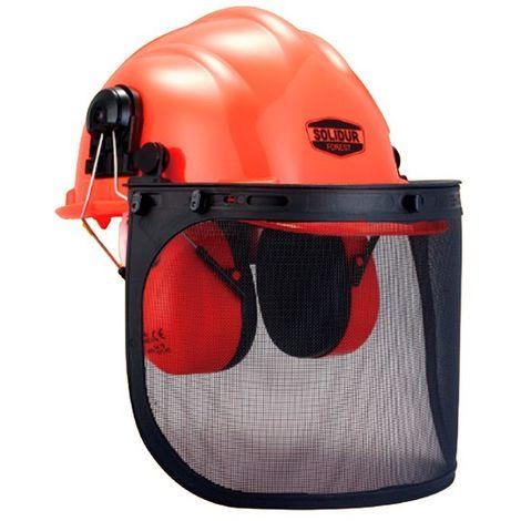 Casque forestier complet, visiere grillagée métal, anti bruit SNR 23 dB - SOLIDUR - Orange - - taille:
