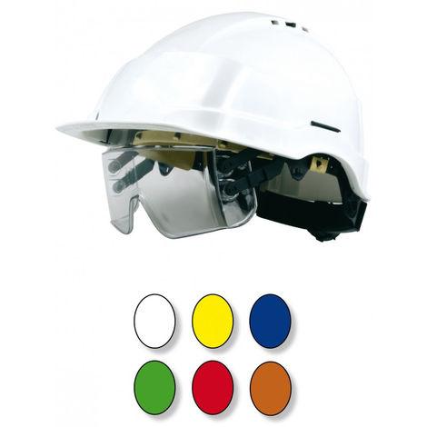 Casque jaune à lunette-masque intégrée sous la visière SINGER - CASIRISJAU2