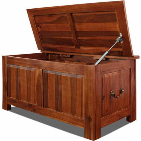 Cassapanca baule panca contenitore cassa in legno di acacia contenitore marrone