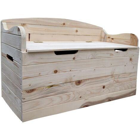 Cassapanca in legno con schienale seduta baule contenitore for Cassapanca fai da te