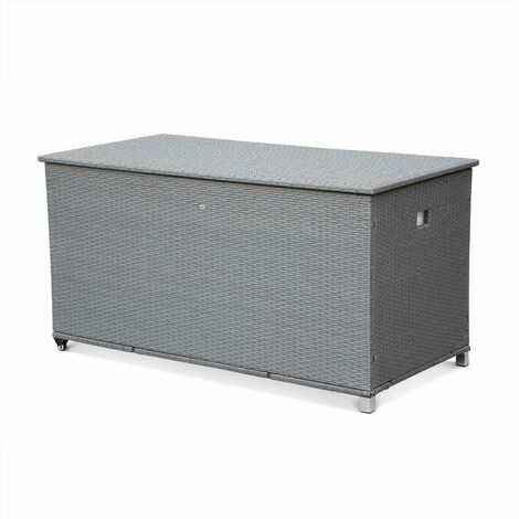 CASSAPANCA rattan garden storage box with handle and wheels, grey