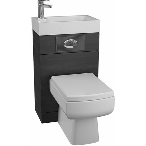 Cassellie Black Ash BTW Back to Wall Toilet WC Unit Basin 500 x 305mm Bathroom