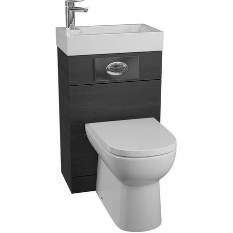 Cassellie Black Ash BTW Back to Wall WC Toilet Unit Basin 500 x 305mm Bathroom