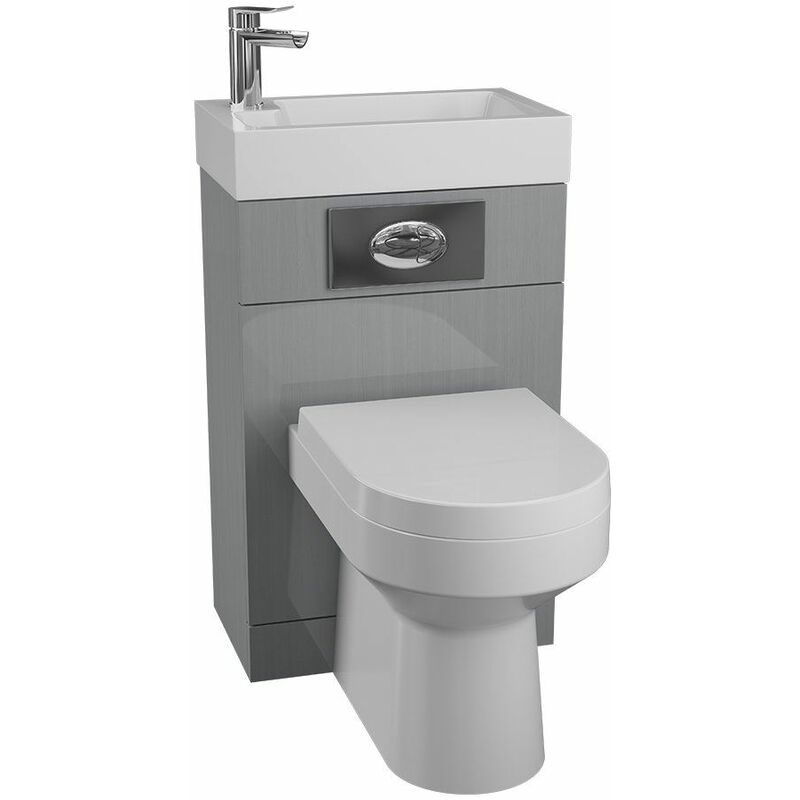 Image of Grey Gloss Back to Wall BTW Unit Toilet WC Basin 500 x 305mm Bathroom - Cassellie