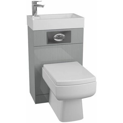 Cassellie Grey Gloss BTW Back to Wall Toilet WC Unit Basin 500 x 305mm Bathroom