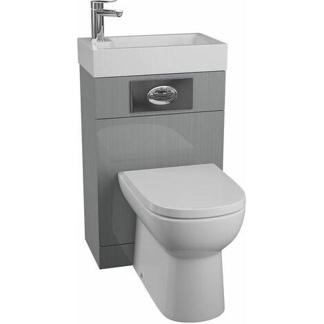 Cassellie Grey Gloss BTW Back to Wall WC Toilet Unit Basin 500 x 305mm Bathroom
