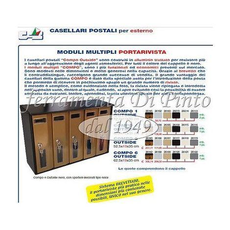 CASSETTA CASELLARIO POSTALE PORTALETTERE RIVISTE LEGNO ALLUMINIO SOLUZIONI 1 4 5 6 POSTI