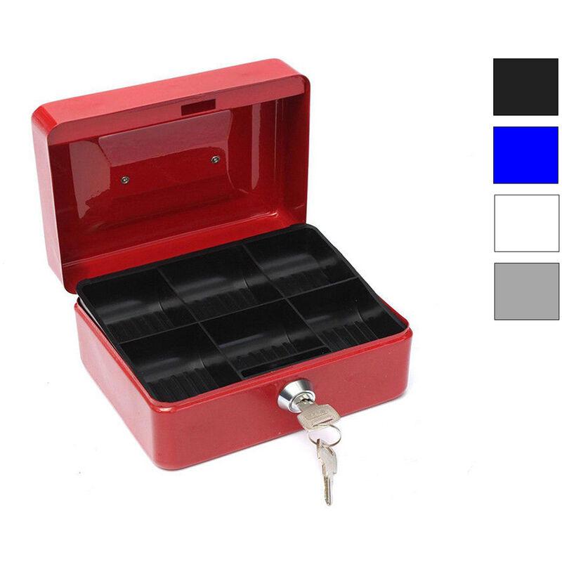 Cassetta Porta Valori Portatile Con Vassoio Porta Monete e Molle Acciaio Ferma Banconote Serratura di Sicurezza 30 x 24 x 8.5 cm
