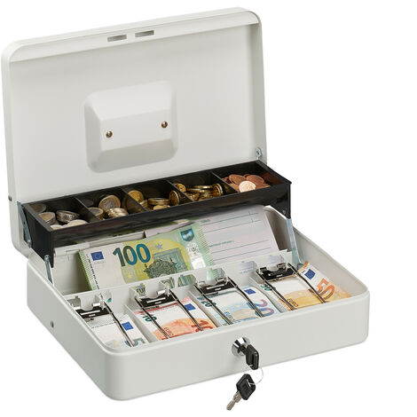 Relaxdays Cassetta con Combinazione 8,5x20x17 cm Portavalori Valigetta in Ferro Porta Soldi bianco 3 Cifre