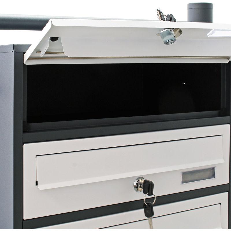 Cassetta posta condominiale 4 scomparti antracite//bianco con supporto finestrella nome