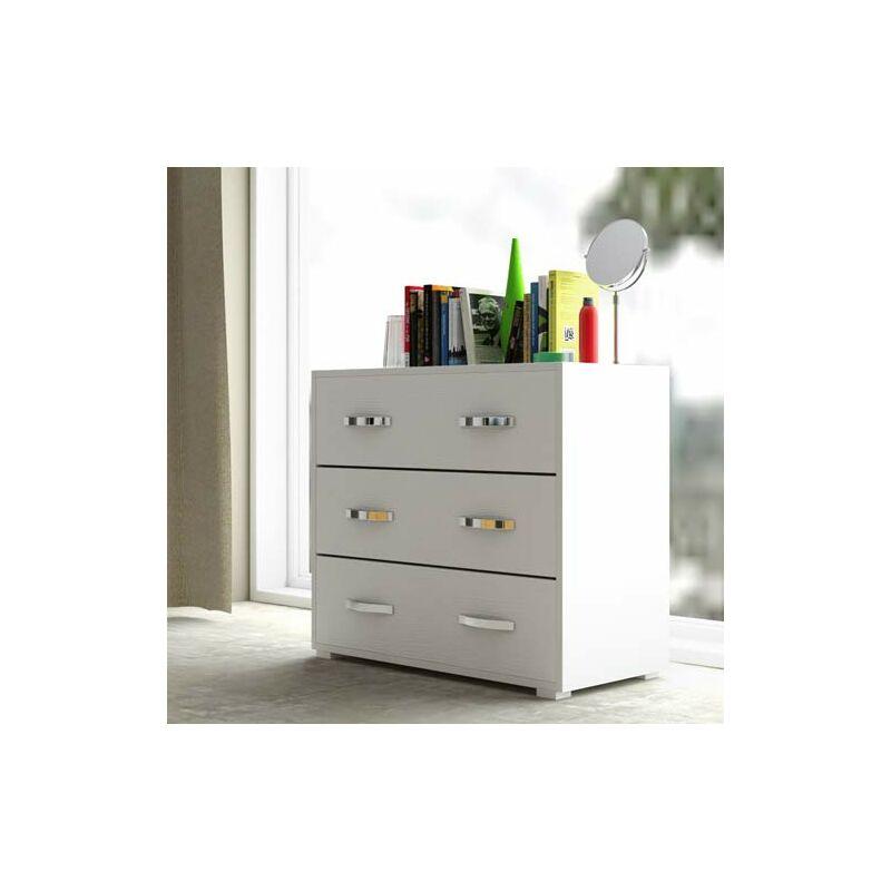 Cassettiera bianca con 3 cassetti in legno nobilitato. Mobile settimino ideale per camerette e camera da letto, dimensioni 91x45x81h cm.
