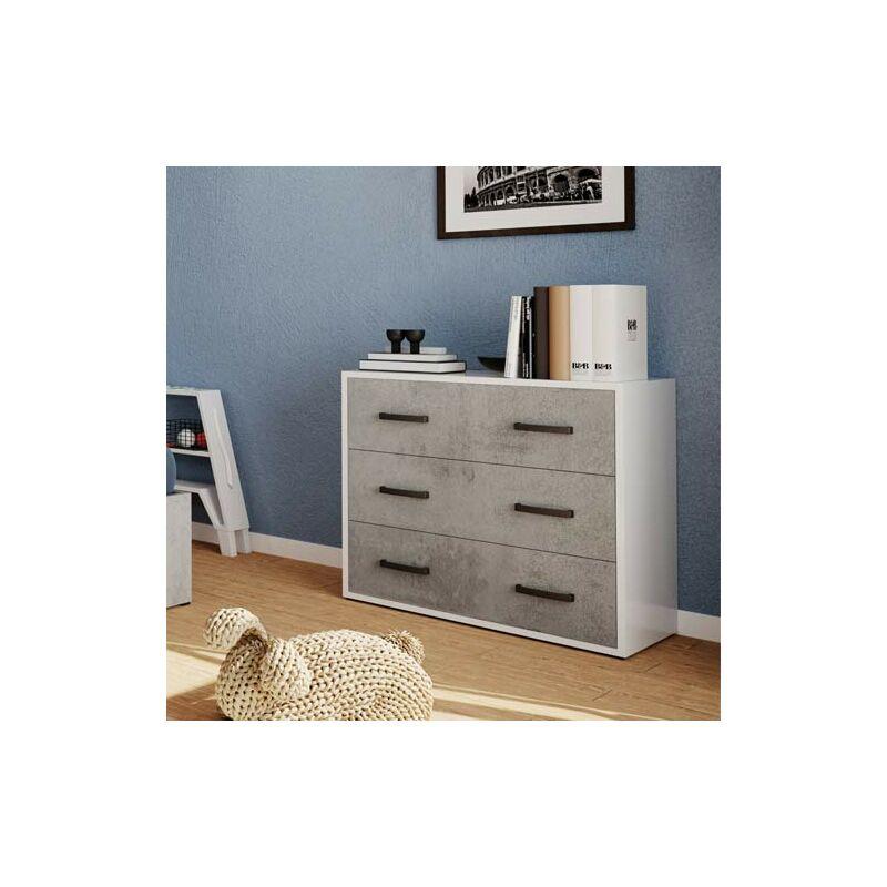 Cassettiera cemento con 3 cassetti in legno nobilitato. Mobile settimino ideale per camerette e camera da letto, dimensioni 91x45x81h cm.