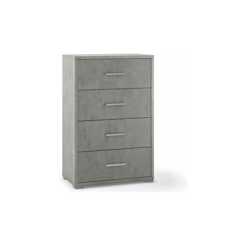 Cassettiera cemento con 4 cassetti in legno nobilitato. Armadio settimino ideale per ufficio e camera da letto, dimensioni 70x41x112h cm.
