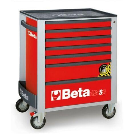 Cassettiera Mobile Con 7 Cassetti, Con Sistema Antiribaltamento Rosso - Beta C24SA/7-R