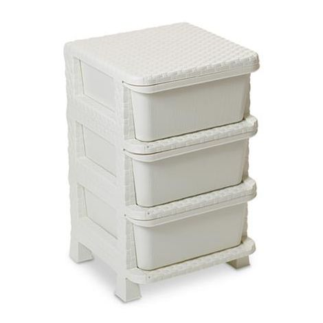 Cassettiera resina rattan 3 cassetti Dea home rattan tower 60 white (Made in Italy)