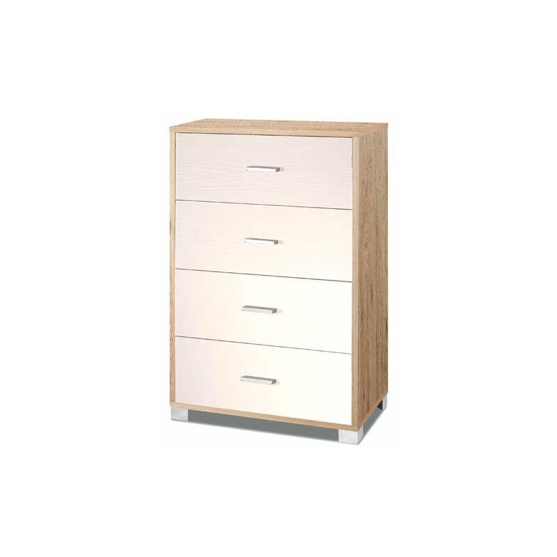 Cassettiera rovere e bianco con 4 cassetti in legno nobilitato. Armadio settimino ideale per ufficio e camera da letto, dimensioni 70x41x112h cm.