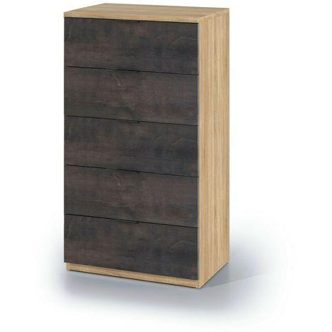 Cassettiera settimanale Burgos 5 cassetti moderno comò camera da letto  mobile