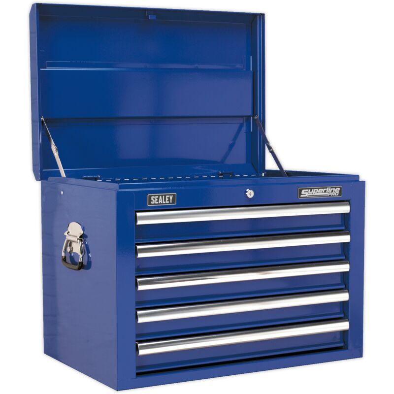 Sealey - Cassettiera superiore blu professionale 5 cassetti con cuscinetti a sfera