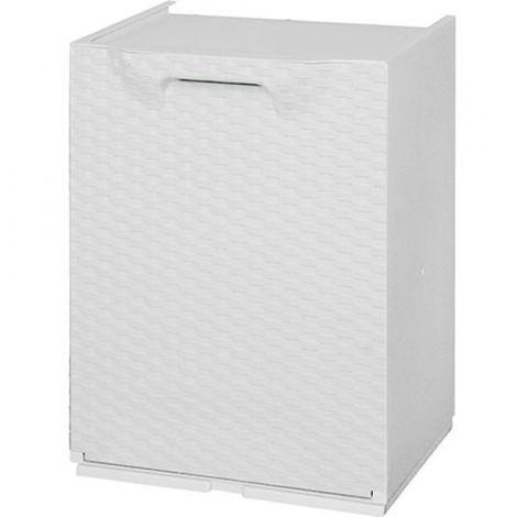 Contenitori Da Esterno Plastica.Cassettone Contenitore Box In Plastica Resina Rattan Bianco Da