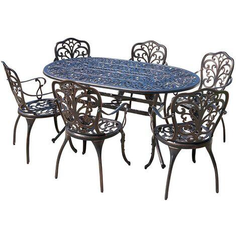 Cast Aluminium Rectangle Dining Table & 6 Chairs Outdoor Garden Furniture Set