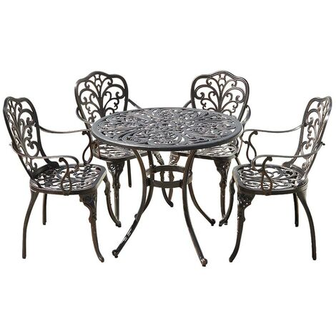 Cast Aluminium Round Dining Table with 4 Chairs Outdoor Garden Furniture Set