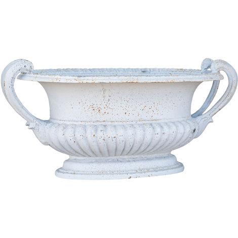 Cast cast iron vase with antique white finish