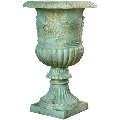 Cast cast iron vase with antique white finish