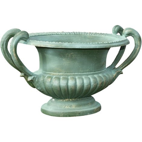 Cast iron vase with handles green antique finish