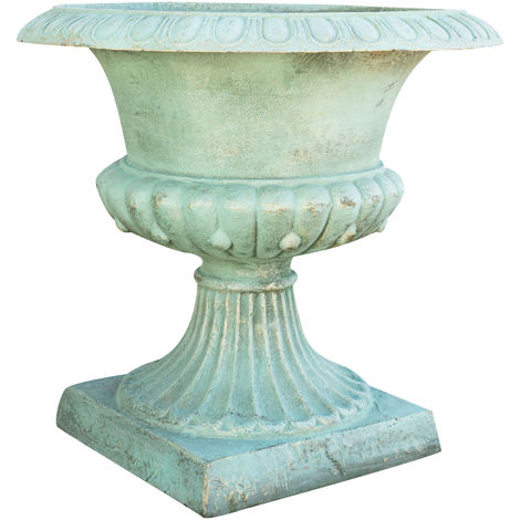 Cast cast iron vase with green antique finish