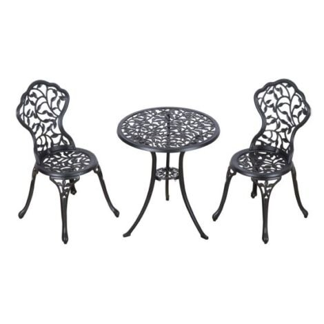 Cast Iron Bistro Set Black Aluminium Patio Yard Garden Seat Metal Table Chairs